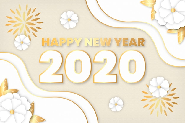 New year 2020 background in paper style