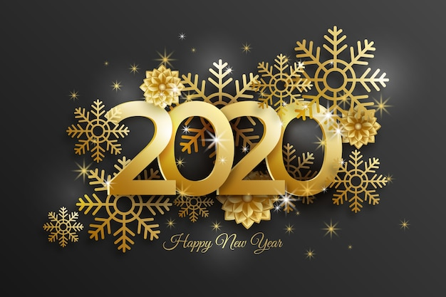 New year 2020 background with realistic golden decoration