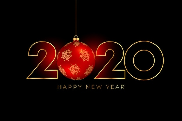New year 2020 background with red christmas ball