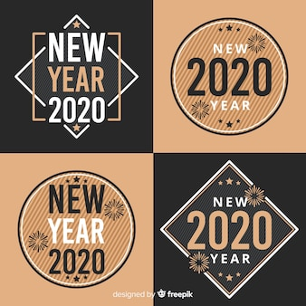 New year 2020 badge collection in flat design