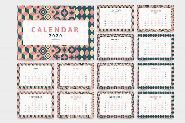 Calendario del nuovo anno 2020 con motivo