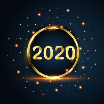 New year 2020 circle gold glitters on blue background