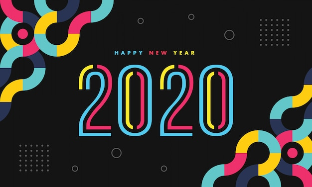 New year 2020 colorful