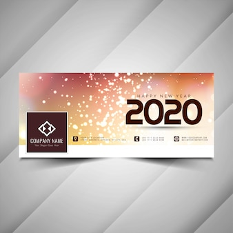 New year 2020 decorative facebook cover design