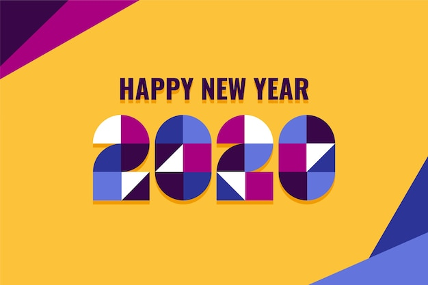 New year 2020 flat design wallpaper