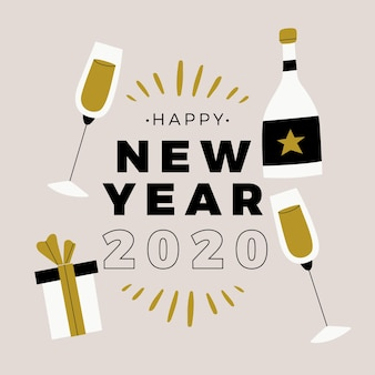 New year 2020 in flat design