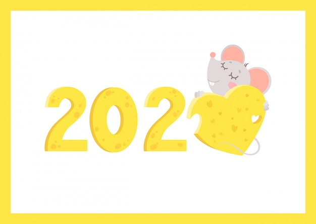 New year 2020 flat vector greeting card with mouse template