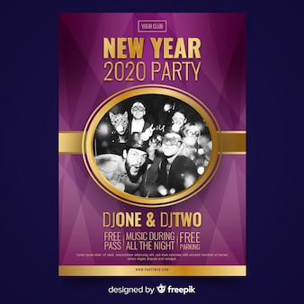 New year 2020 friends party poster