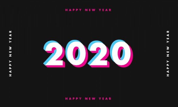 New year 2020 glitch dark background