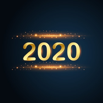 New year 2020 gold glitters on blue background