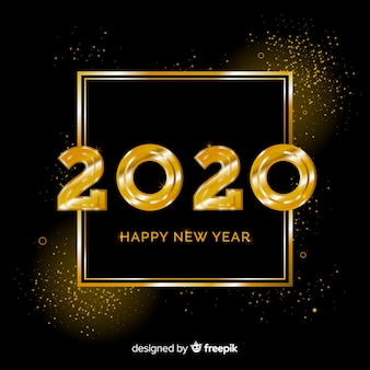 New year 2020 in golden style