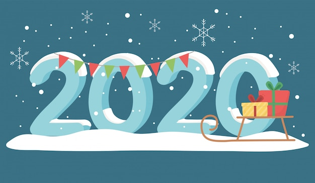 New year 2020 greeting card snow sled gifts and garland