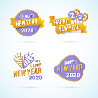 New year 2020 greeting on flat label design