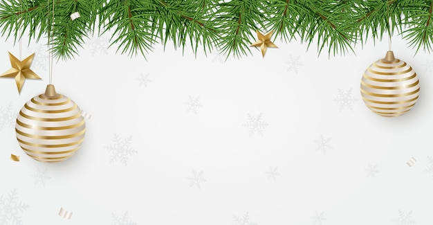New year 2020 holidays banner with christmas tree branches