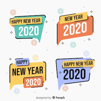 New year 2020 label collection in flat design