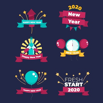New year 2020 label collection