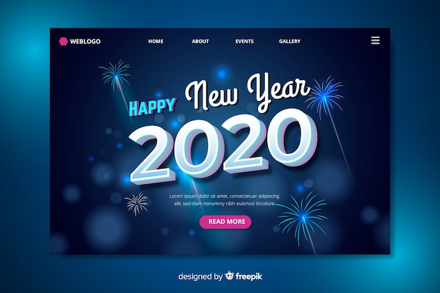 New year 2020 landing page blurred fireworks