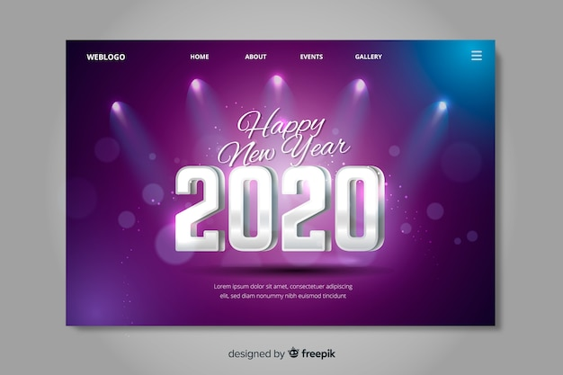 New year 2020 landing page stage lights