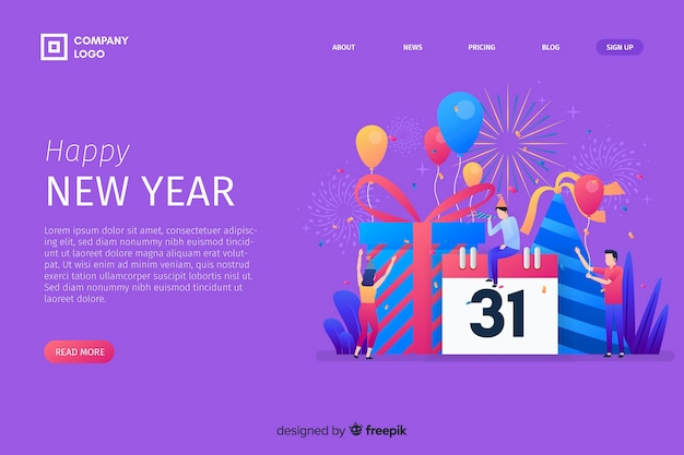New year 2020 landing page with calendar