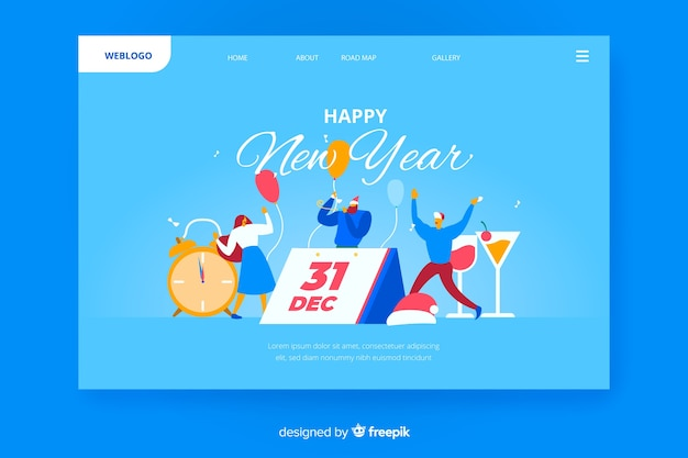 New year 2020 landing page with people and calendar