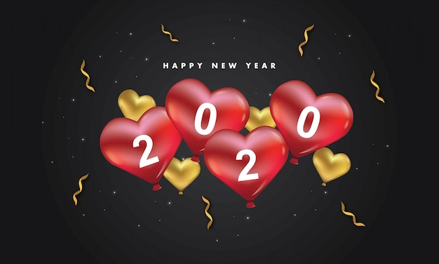 New year 2020 love dark background