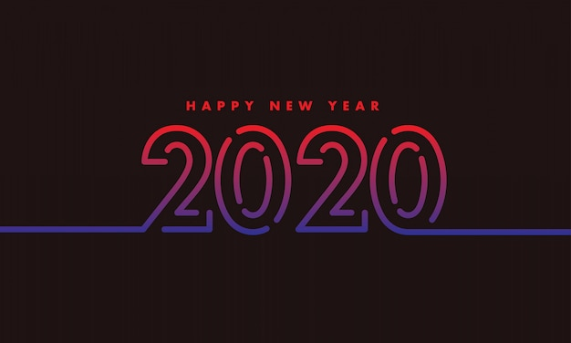 New year 2020 outline design dark background