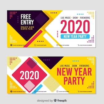 New year 2020 party banners in flat design