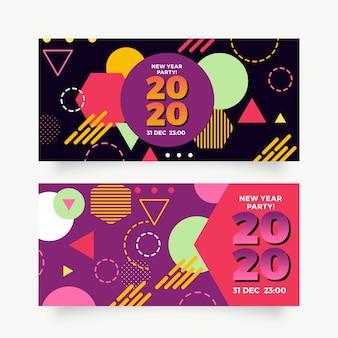 Banner festa di capodanno 2020 in design piatto