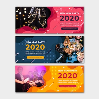 New year 2020 party banners with image
