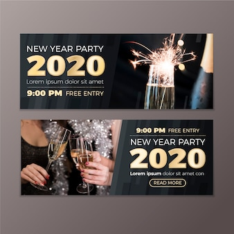 New year 2020 party banners with photo set