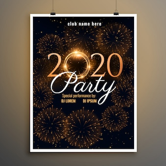 New year 2020 party firework flyer template
