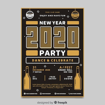 New year 2020 party flyer in flat design