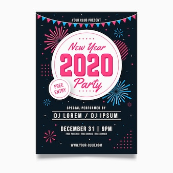 New year 2020 party flyer template in flat design