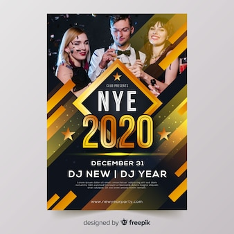 New year 2020 party flyer template with photo
