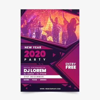 Шаблон флаера вечеринки новый год 2020 с фото