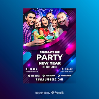 New year 2020 party flyer template with picture