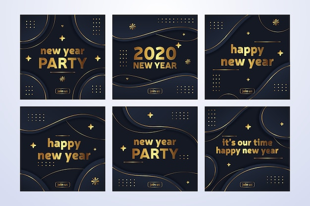New year 2020 party instagram post collection