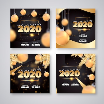 New year 2020 party instagram post pack
