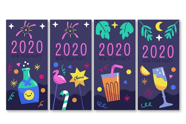 New year 2020 party instagram story set