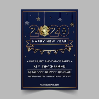 New year 2020 party poster in outline style