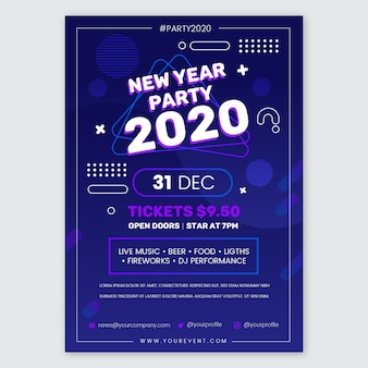 New year 2020 party poster template in flat design