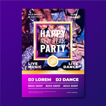 New year 2020 party poster template with image