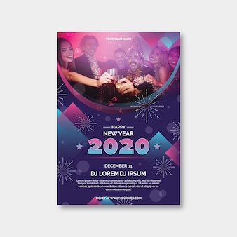 New year 2020 party poster template with photo