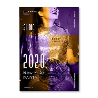 New year 2020 party poster template with picture