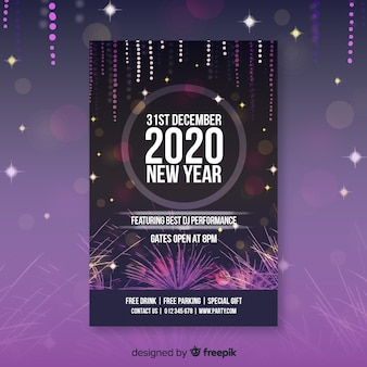 New year 2020 poster with fireworks