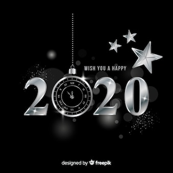 New year 2020 in silver style