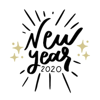 New year 2020 vintage lettering