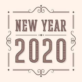 New year 2020 in vintage style