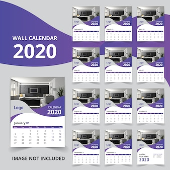 New year 2020 wall calendar 12 pages