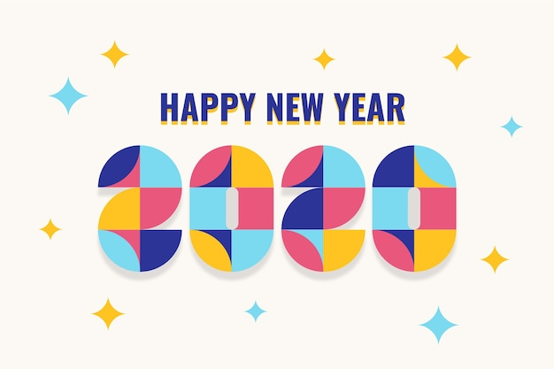 New year 2020 wallpaper flat design